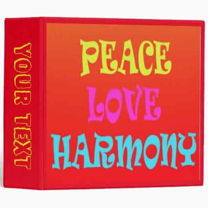 Retro Neon Peace Love Harmony Binder