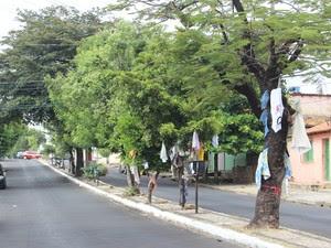 Rua 13 de maio amanheceu colorida de roupas para doação (Foto: Catarina Costa/G1)