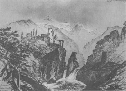 Развалины на берегу Арагвы. Рисунок Лермонтова