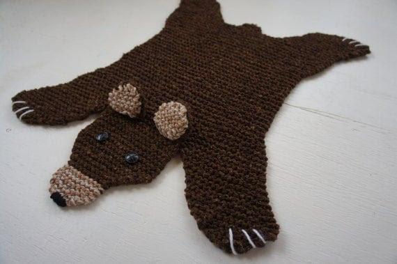 Flat brown bear rug/ mat/ blanket