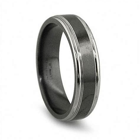 Edward Mirell Men's 6.5mm Grey Edged Wedding Band in Black