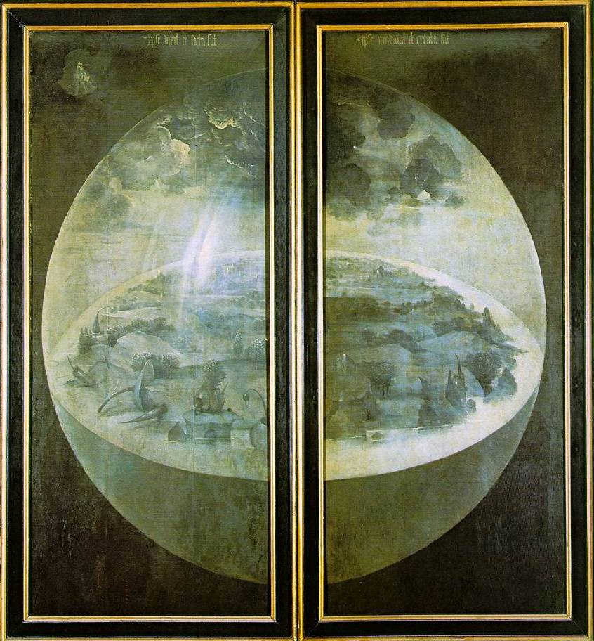 Descripción: https://upload.wikimedia.org/wikipedia/commons/e/ea/Hieronymus_Bosch_-_The_Garden_of_Earthly_Delights_-_The_exterior_%28shutters%29.jpg
