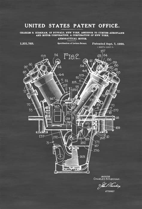Aircraft Motor Patent – Vintage Airplane, Engine Patent