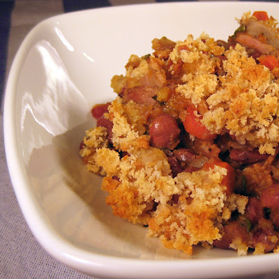 Peasant bean stew plated