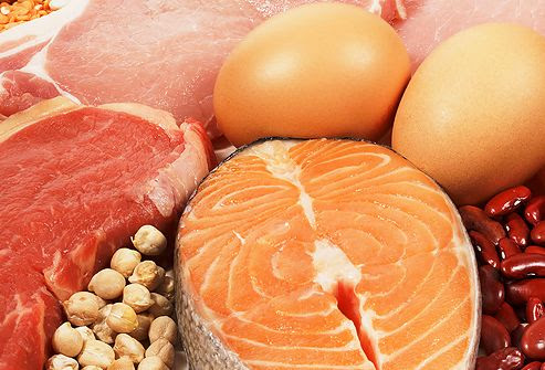High protein meat, beans, nuts, and eggs