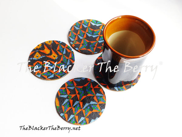 African Coasters Blue Set Of 4 Home Decor Kitchen The Blacker The Berr The Blacker The Berry