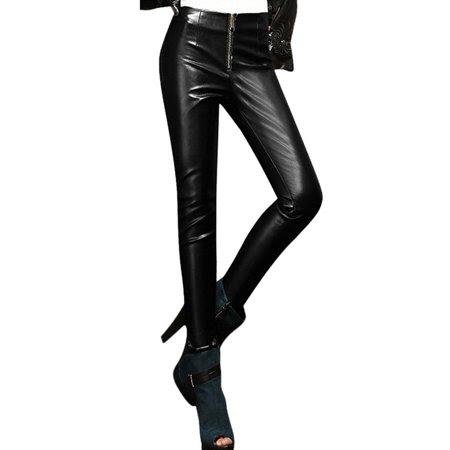 Allegra K Women's High Waist Zip Closure Front Chic Imitation Leather Pants (Size XS \/ 2)