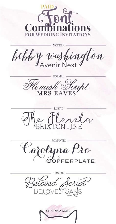 Great Font Combinations for Wedding Invitations   CharmCat