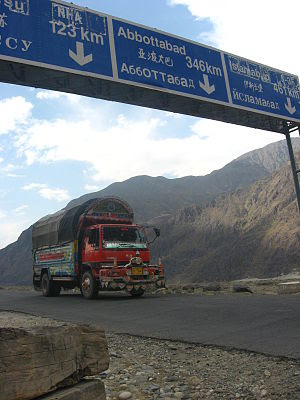 English: Hitching south on the kkh south of Ch...