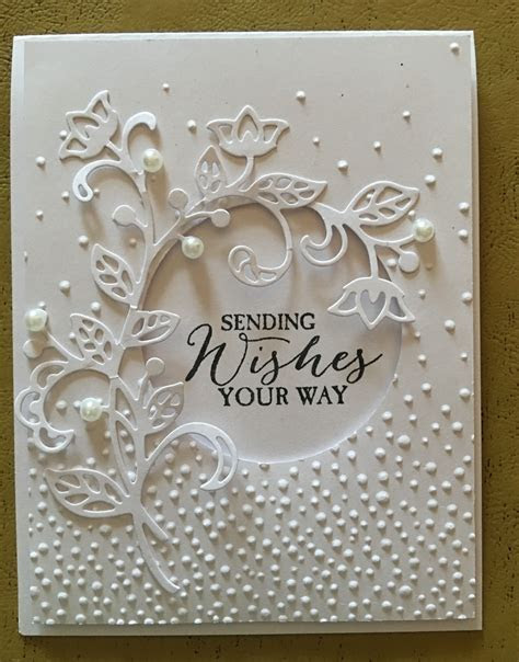 beautiful handmade card   all white   die cut