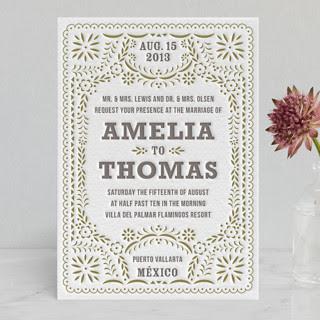 Fiesta Folk Art Letterpress Wedding Invitations