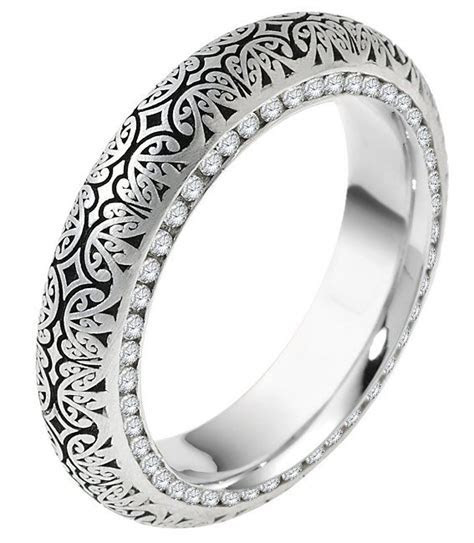 V11474PP Platinum Verona Lace Design Eternity Wedding Ring