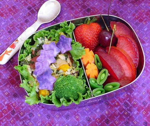Sticky Rice and Purple Stars Bento by sherimiya ♥