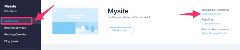 Connect domain to Wix website