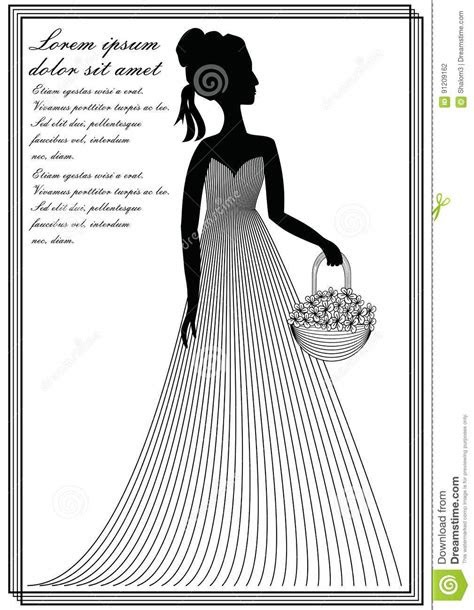 Lady With Flower Basket, Monochrome Line Art Drawing In