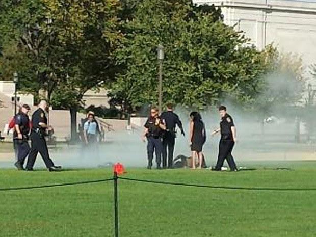 Policiais e passantes tentam ajudar um homem que teria ateado fogo ao próprio corpo no National Mall, a esplanada de monumentos que leva ao Capitólio, em Washington. (Foto: Reuters/Vanessa Sink/Cortesia)