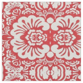 Red Floral Designed Fabric