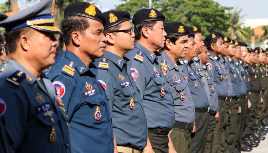 Members of the Royal Cambodian Armed Forces attend an inauguration ceremony in Phnom Penh in 2013. A royal decree issued last month outlines plans to promote over 100 RCAF personnel to one-star generals.