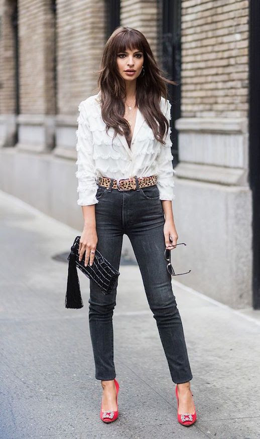 Le Fashion Blog Emily Ratajkowski White Blouse Leopard Belt Straight Leg Jeans Statement Pumps Night Out Outfit Via Who What Wear