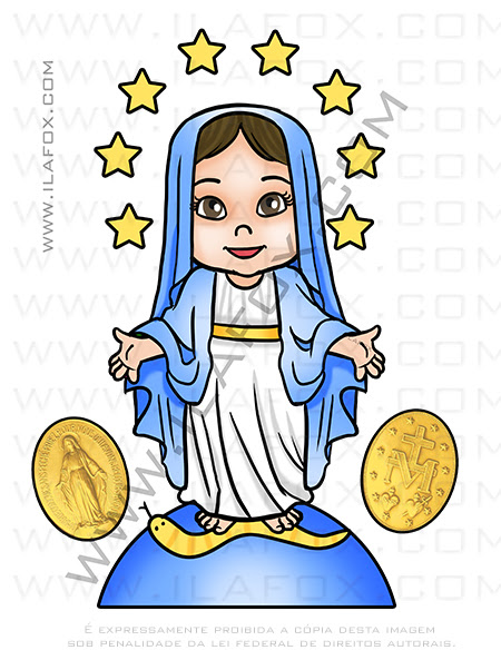 Caricatura Nossa Senhora das Graças, caricatura desenho, caricatura religiosa, by ila fox
