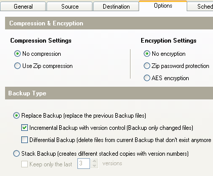 Fig: Free Windows Backup Software - Options Tab