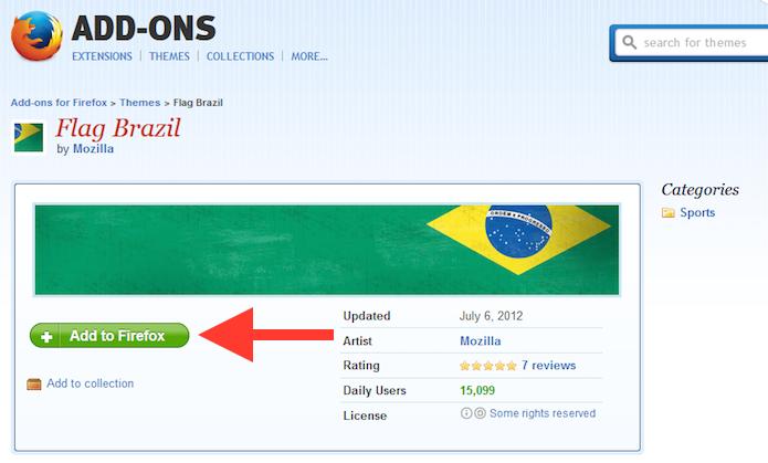 Adicionando o tema da bandeira do Brasil ao Firefox (Foto: Reprodução/Marvin Costa)