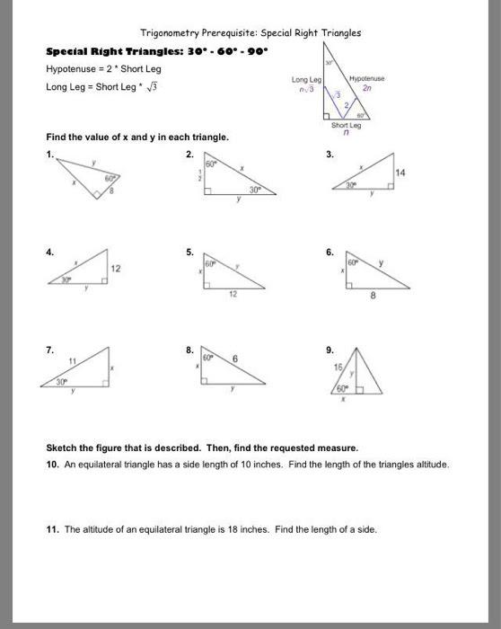 Solved: Trigonometry Prerequisite: Special Right Triangles  Chegg.com
