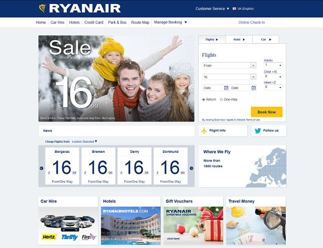 Gently does it: Ryanair has toned down its previously brash website