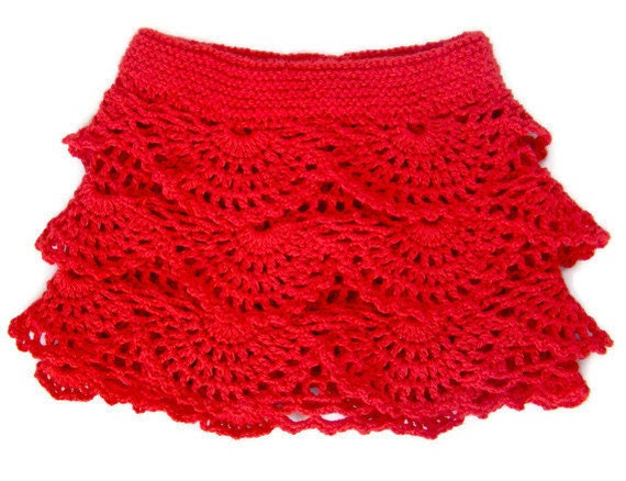 Red Crochet Toddler Ruffle Skirt - PureCraft