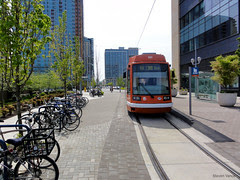 bike parking adjacent to streetcar line in Portland (by: Steven  Vance, creative commons license)