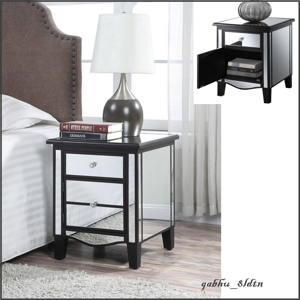 Black Mirrored Accent Table Modern Cabinet Nightstand ...