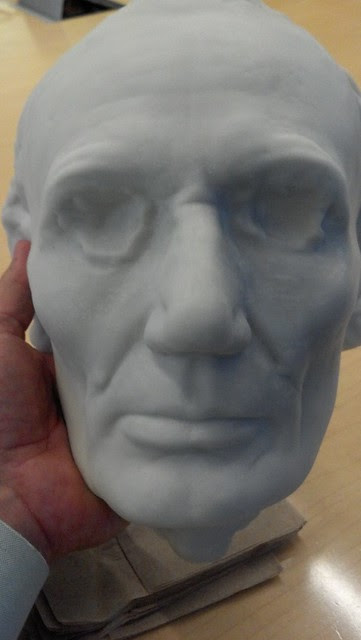 Holding 3D print of Lincoln's life mask #fb