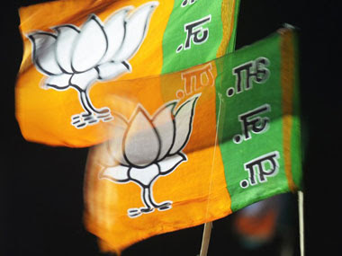 File image of BJP flags. AFP