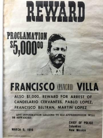 El afiche con el que EE UU ofrecía recompensa por Villa.