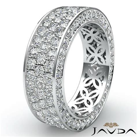3 Row Womens Anniversary Band 14k White Gold Pave Eternity