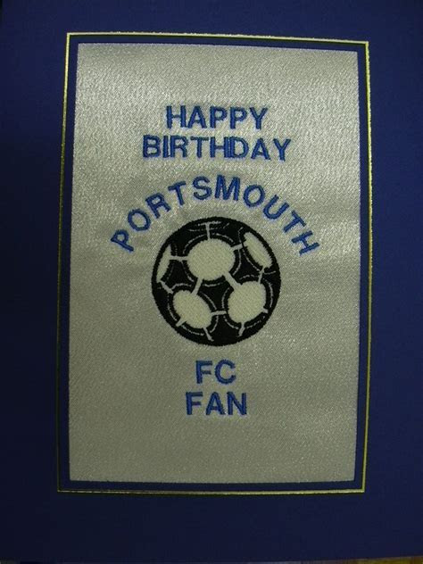 PERSONALISED EMBROIDERED PORTSMOUTH FC CARD   FOOTBALL