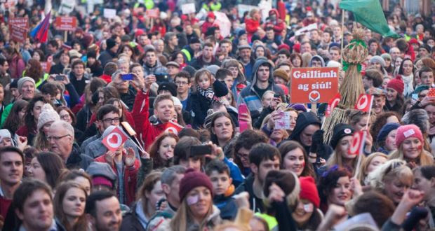A section of the crowd at Lá Mór na Gaeilge outside Dáil Éireann on Molesworth Street today. Photograph: Seán Ó Mainnín