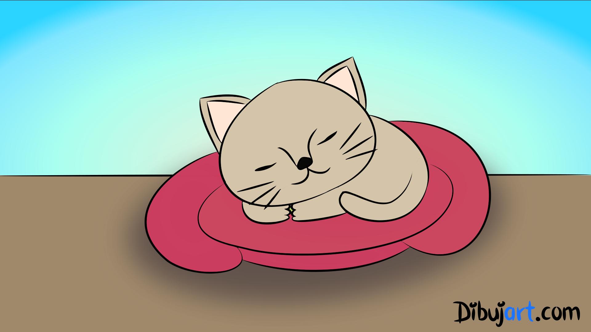 Cómo Dibujar Una Gato Bebé Tierno Paso A Paso 4 Serie De Dibujos