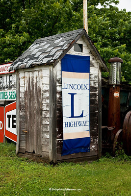 Outhouse along the Lincoln Highway, Benton County, Iowa