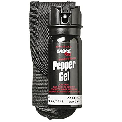 SABRE RED Pepper Gel - Police Strength - Professional Size with Flip Top, Belt Holster & 18' Range