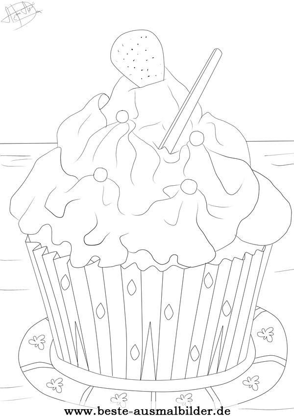 Cupcake Ausmalbild Kostenlose Ausmalbilder f\u00fcr Kinder