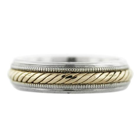 14K Two Tone Gold Rope Design Mens Wedding Band Boca Raton