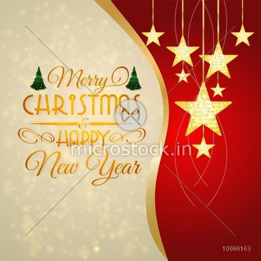 Elegant Greeting Card Design Decorated With Golden Hanging Stars For
