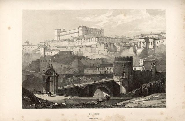 """Vista de Toledo dibujada por Lady Louisa Tenison a partir de un calotipo tomado por su marido Edward King Tenison en 1852. Ilustró su libro """"Castile and Andalucia"""" publicado en 1853"""