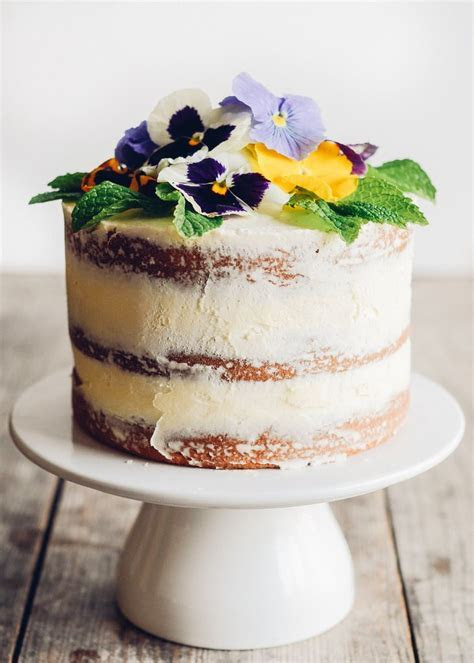 Triple Lemon Naked Layer Cake with Pansies   Recipe