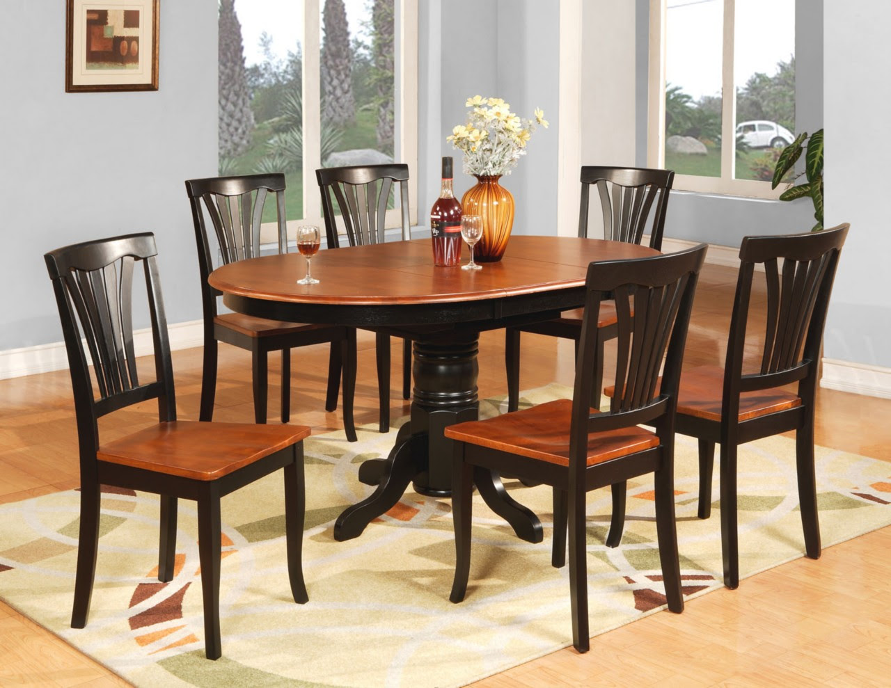 7 PC OVAL DINETTE KITCHEN DINING ROOM TABLE \u0026 6 CHAIRS  eBay