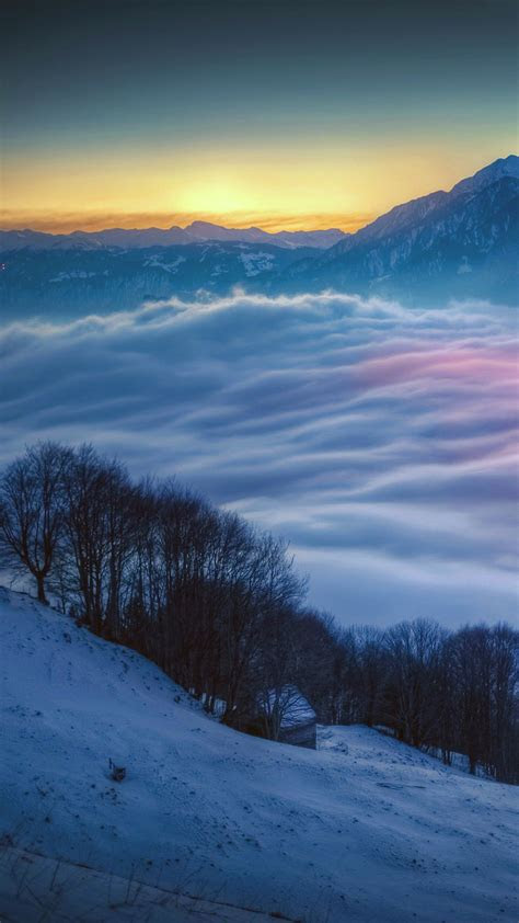 snowy mountain landscape night wallpapersc smartphone