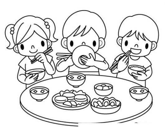 Imagen De Ninos Comiendo Para Colorear