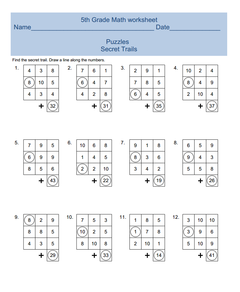 5th Grade Math Worksheet Brain Game For Kids More