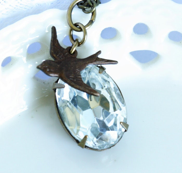 Clear Vintage Jewel Necklace With Brass Bird on a Brass Chain - Simple and Lovely - No Shipping Charges